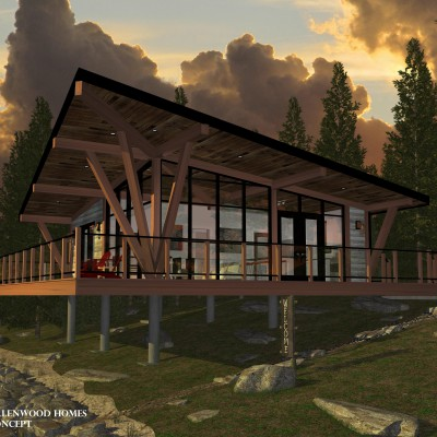 Lakeside Cabin with Loft house plans floor plans
