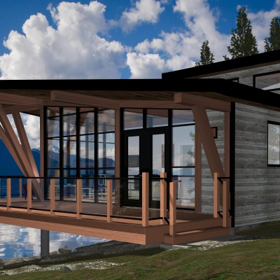 Floor plan and digital rendering for a modern style cabin with loft